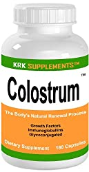 Colostrum 180 Capsules Bovine Pre-Milk Protein Muscle 800mg serving KRK SUPPLEMENTS
