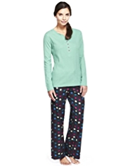 Pure Cotton Henley Neck Star Print Pyjamas