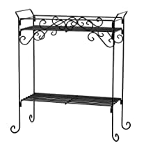 Plant Stand Black Rect 2 Tier