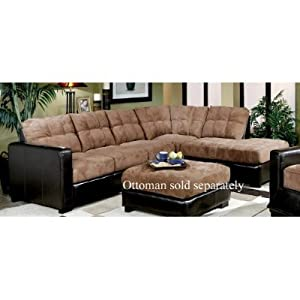 Sectional sofa couch chaise brown microfiber for Black microfiber chaise