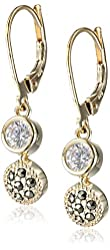 "Judith Jack ""Golden Class"" Sterling Silver and Gold-Tone Marcasite Cubic-Zirconia Drop Earrings"