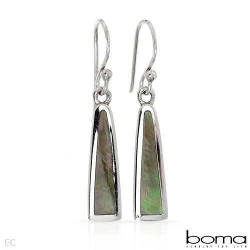 BOMA Stylish Earrings With Genuine Mother of pearls Made of 925 Sterling silver Length 32mm