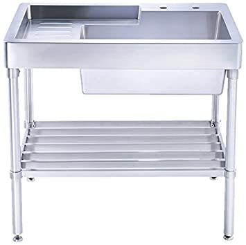 Whitehaus WHNCMAP3026 Pearlhaus Brushed Single Bowl, Freestanding Utility Sink with Drainboard and Lower Rack