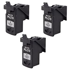 Amsahr PG210XL Remanufactured Replacement Canon Ink Cartridges for Select Printers/Faxes - 3 Pack, Black