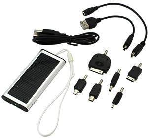 MQ Solar-Ladegerät Lader mit Polymer-Akku + 6 Adapter u.a. für Apple Iphone, Ipod, Samsung, Galaxy, MP3, Micro USB, Mini USB. Nokia 2mm, Nokia 3,5 mm
