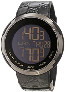 Gucci Interlocking YA114101 49mm Stainless Steel Case Black Leather Men's Watch