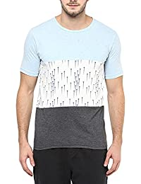 Printed Panel Slim Fit Half Sleeves Round Neck T-Shirt For Men By Colors Couture