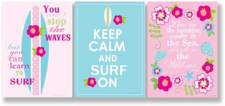 The Kids Room by Stupell Keep Calm and Surf On Pink and Teal 3-Pc Inspirational Rectangle Wall Plaqu