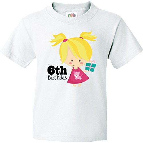 Inktastic Big Boys' 6Th Birthday Girl Youth T-Shirts Youth Small White front-666842