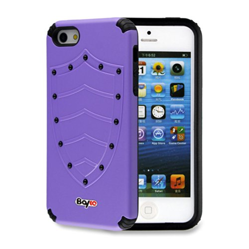 Bayke Brand / Apple Iphone 5 & Iphone 5S 2-Piec Dual Layer Design Impact Resistant Bumper Prime Extreme Protection Hybrid Heavy Duty Protective Slim Armor Defender Case Without Built-In Screen Protector (Purple Shield Design)
