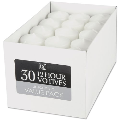 """Dynamic Collections Unscented 12-Hour Votive Candle 30-Pack: White (1.4"""" X 1.8"""")"""