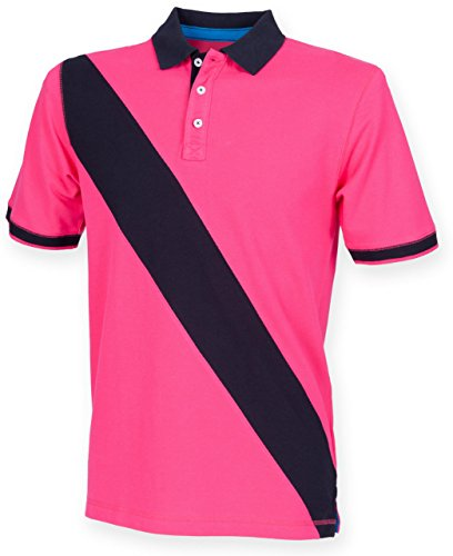 unisex-kids-front-row-stylish-diagonal-stripe-cotton-polo-tshirt-bright-pink-navy-age-11-12