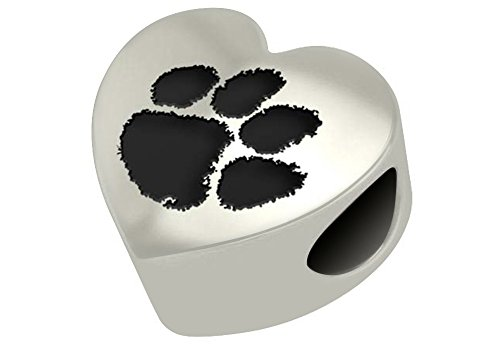 Clemson Tigers Sterling Silver Heart Bead Fits Most European Style Beaded Charm Bracelets