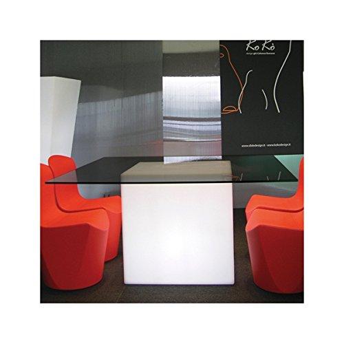 Cube LED lumineux siège pouf lumineux Table d'appoint avec éclairage 60cm
