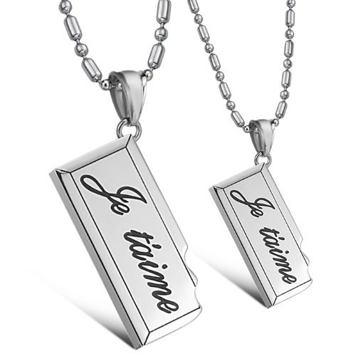 Kstyle Jewelry Men'S His & Hers Couples Love Gift Stainless Steel Pendant Necklace Love Valentine Necklace Set With Gift Bag