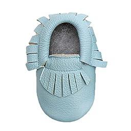 Sunward Baby Tassel Soft Sole Leather Shoes Infant Boy Girl Toddler Moccasin (L, Blue)