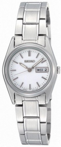 Seiko Ladies Quartz Analogue Watch SXA117P1 with Stainless Steel Bracelet and White Dial