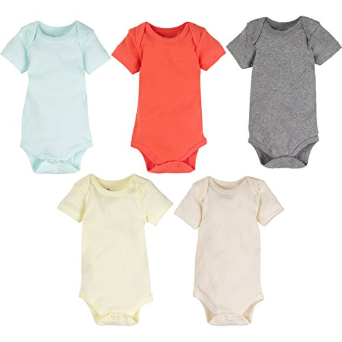 5-Pack Solid Neutral Color 100% Cotton MiracleWear Bodysuits by Miracle Blanket (0-3 Months, Neutral Solid Colors)