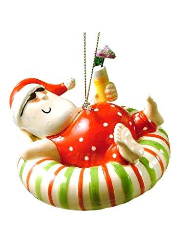 Christmas Ornament Santa Relaxing On An Inner Tube Float