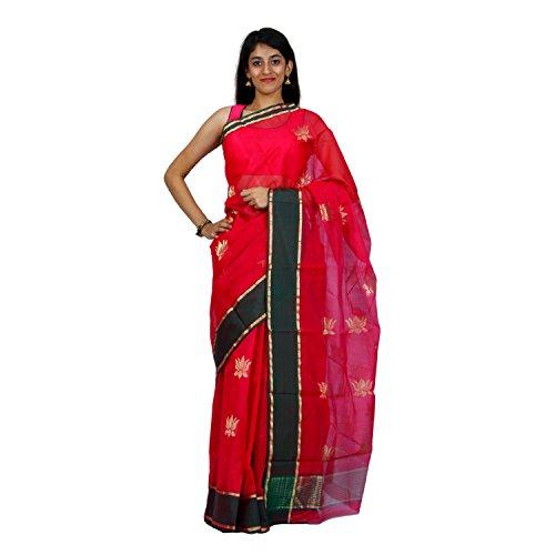 Mistyque Mistyque Ethnicwear Magenta Chanderi Silk With Lotus Motif For Women ( MJSR1673 ) (Multicolor)
