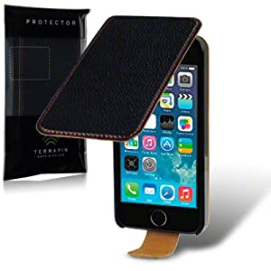 Terrapin Premium Textured PU Leather Flip Case for iPhone 5S - Black/Red Stitching