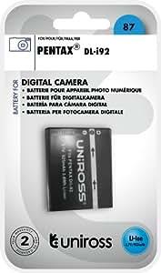 Uniross U0219488 Batterie pour appareil photo Pentax D-Li92 925 mAh 3,7 V