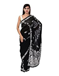 A1 Fashion Women Georgette Black Saree With Blouse Piece