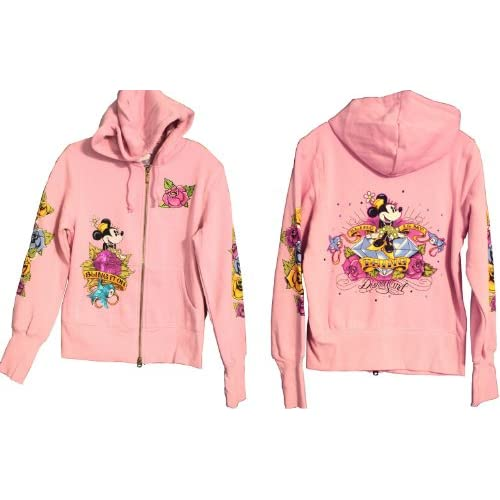 Disneyland Pink Tattoo Minnie Mouse Hoodie Sweatshirt Jacket Size
