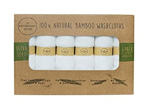 The Motherhood Collection 6 ULTRA SOFT Baby Washcloths, 100% Natural Bamboo, No-Dyes, Perfect for Sensitive Baby Skin, 6 Pack 10