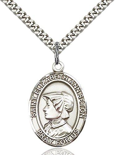Sterling Silver Catholic Saint Elizabeth Ann Seton Medal, 1 Inch (Seton Co compare prices)