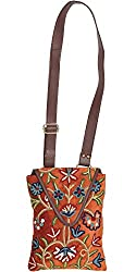 Exotic India Copper-Brown Floral Embroidered Shoulders Bag from Kashmir - Brown
