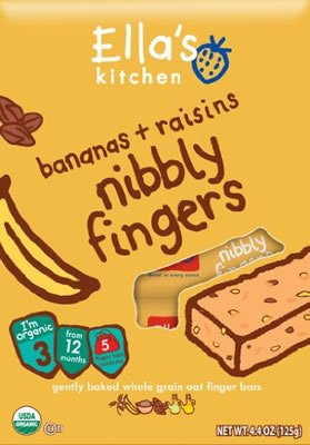 Ella'S Kitchen Nibbly Fingers, Bananas And Raisin, 4.4 Ounce (Pack Of 8)