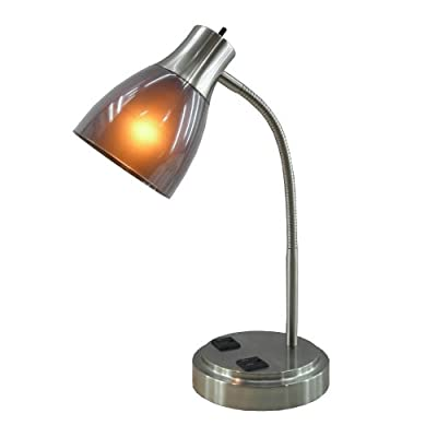 Normande Lighting GP3-796 13W CFL Desk Lamp with Two Electrical Outlets on the Base Mount