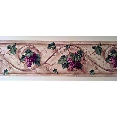 Wallpaper Border Designer Tuscan Grapevine Scroll on Tan Purple