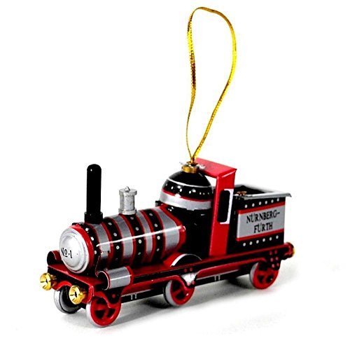 TIN TOY CHRISTMAS TREE ORNAMENT 12 Designs NEW Vintage Style Metal Collectible (Train- Red Steam Engine)