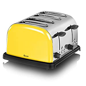 Swan ST14020YELN 4-Slice Stainless Steel Toaster, Mellow Yellow by Swan
