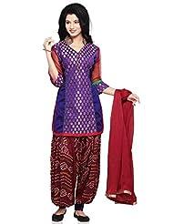 Utsav Fashion Women's Purple Chanderi Brocade And Dupion Silk Jasmine Pant With Kameez-X-Small