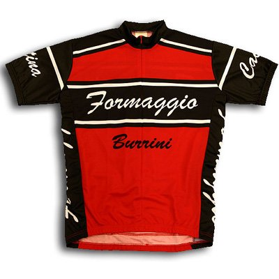 Buy Low Price World Jersey's Men's Formaggio Burrini Short Sleeve Cycling Jersey – Black/Red (B000NATR10)