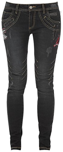 Rock Rebel by EMP Seams Megan (Skinny Fit) Jeans donna nero W31L34