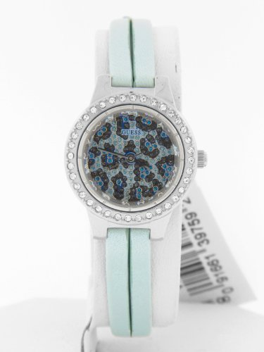 Guess Women'S Shimmer Blue Leather Crystal Leopard Print Watch W75047L3