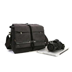 Koolertron tela DSLR Zaino Borsa a tracolla della fotocamera per la macchina fotografica Canon Nikon Olympus Sony, zaino borso custodia per tablet pc di 14 polici, molto bello di alta qualità, grigio scuro