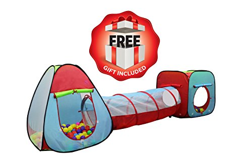 Kiddey Children's Dual Play Tent with Tunnel (3-Piece Set) - Indoor/Outdoor Playhouse for Boys and Girls - Lightweight, Easy to Setup - Promotes Imagination and Early Learning in Kids
