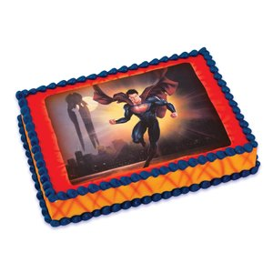 Amazon Com Superman Man Of Steel Edible Icing Cake Topper