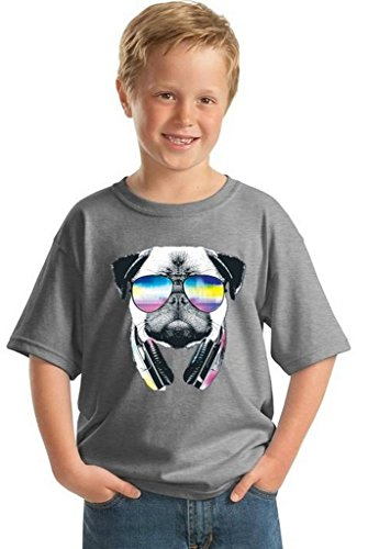 Awkwardstyles Youth Pug Music Revision T-shirt Gift For Kids Animal Lover Shirt M Gray