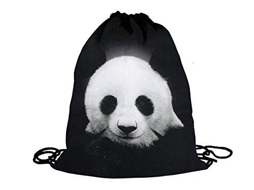 Sacca sportiva a tracolla per l'allenamento, ma non solo. Ultra leggero lifestyle viaggio borsa borsetta palestra zaino a spalla trend sport per uomini donne ragazzi ragazze bambini, Turnbeutel 1 RU-10-50:RU-22 Panda schwarz