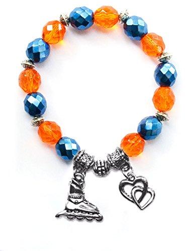"""Inline Hockey Skate"" Girls Roller Hockey Bracelet (Team Colors Orange & Navy Blue)-Medium"
