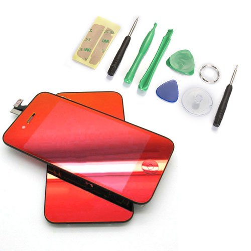 Red Plated Mirror Lcd Screen, Digitizer And Back Cover For Iphone 4 Gsm Att Only(Not For 4S Or Verizon)