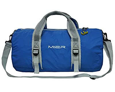 MIER Foldable Sports Gym Bag Lightweight Travel Luggage Duffel for Overnight,Sports,Gym,Weekend,Vacation, Water-resistant Nylon