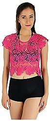 Holidae Women's Crochet Shrug Top, Fuchsia