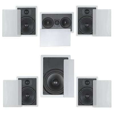 "5.1 Home Theater Flush Inwall Speaker Package- Four Inwall 6.5"" 2-Way Speakers, One Inwall Dual 5.25"" 2-Way Center Speaker, And One 8"" Inwall Subwoofer"
